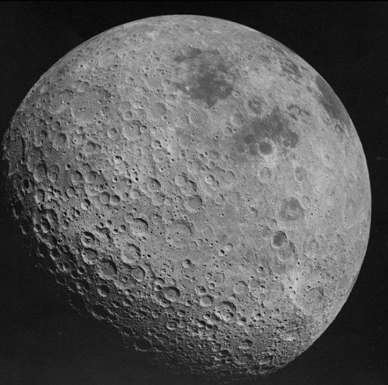 Myth 1 is that moon has a permanet dark side. This is the far side of the moon, as photographed by Apollo 16 in 1972. Notice: not dark. Image via NASA.