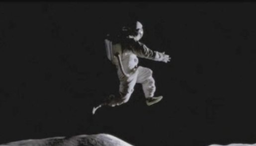 "This isn't a real photo. It's from a television commercial for Nike footwear, called ""Moon Jump."" The idea of zero gravity on the moon is equally imaginary."