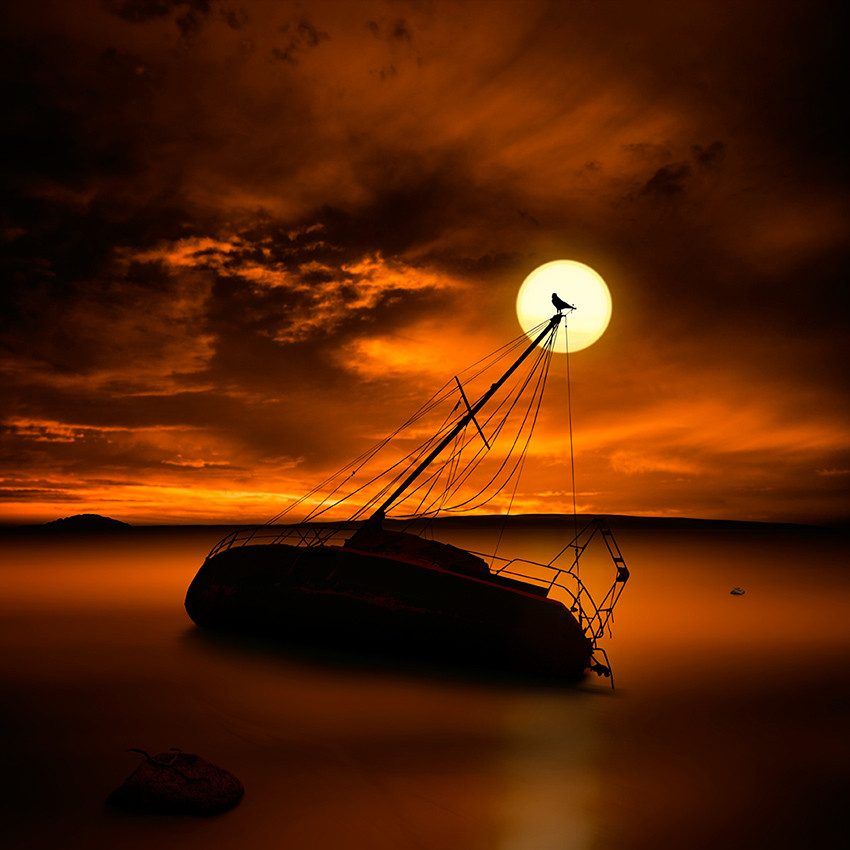 Shipwreck in full moon.