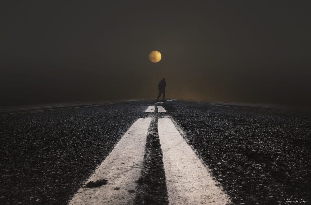 Alone On The Road With Full Moon | Moonipulations