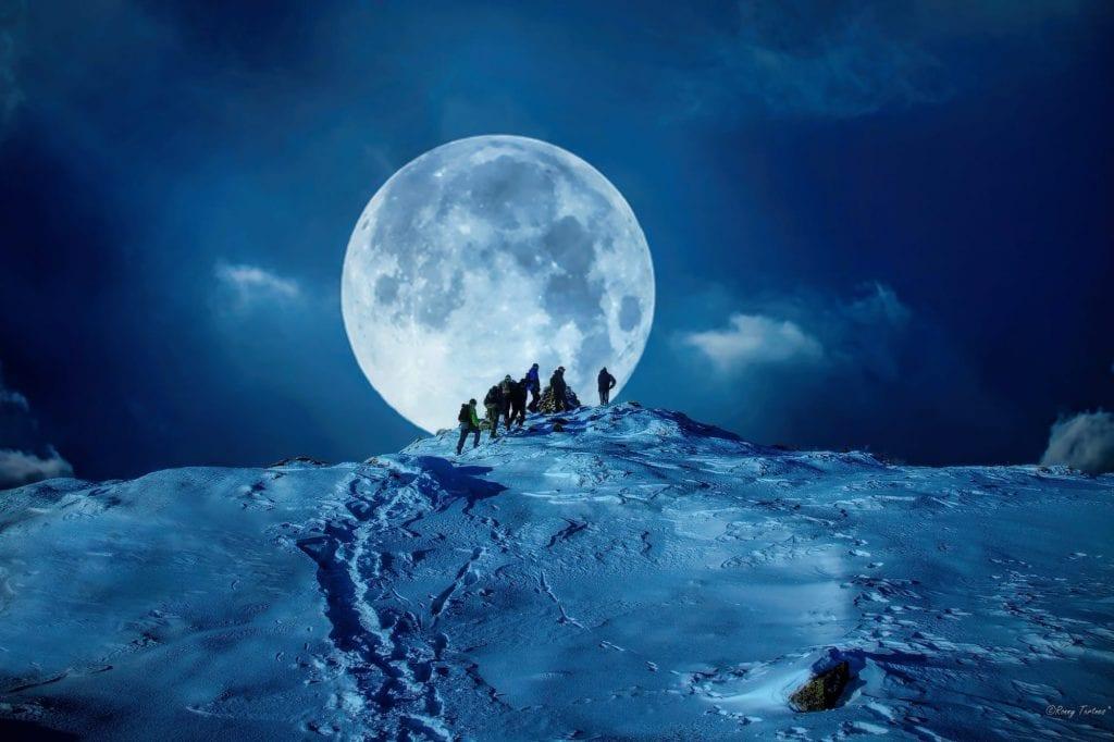 winter snow mountain moon - photo #26