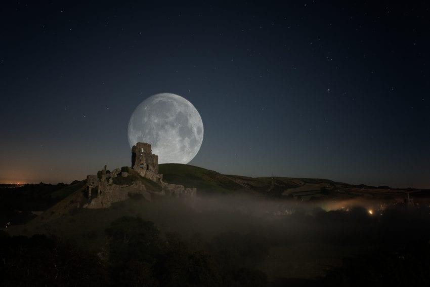 Full Moon Over Corfe Castle - Photography by Artur Szczeszek #fullmoon #castle #corfe