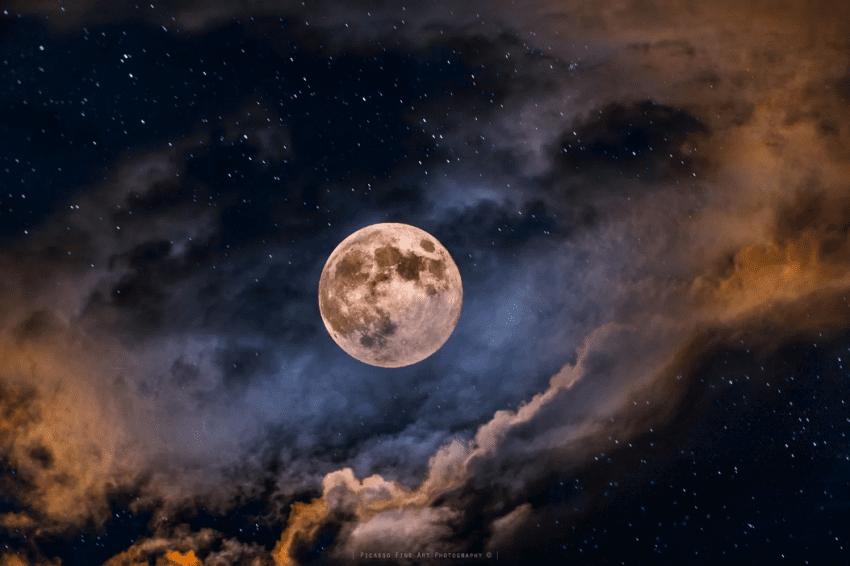 night sky moon stars clouds