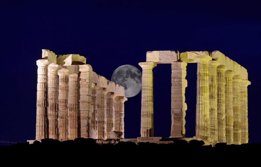 full moon Athens Poseidon temple